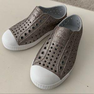 Girls Native glitter shoes, sz 10, brand new w/box